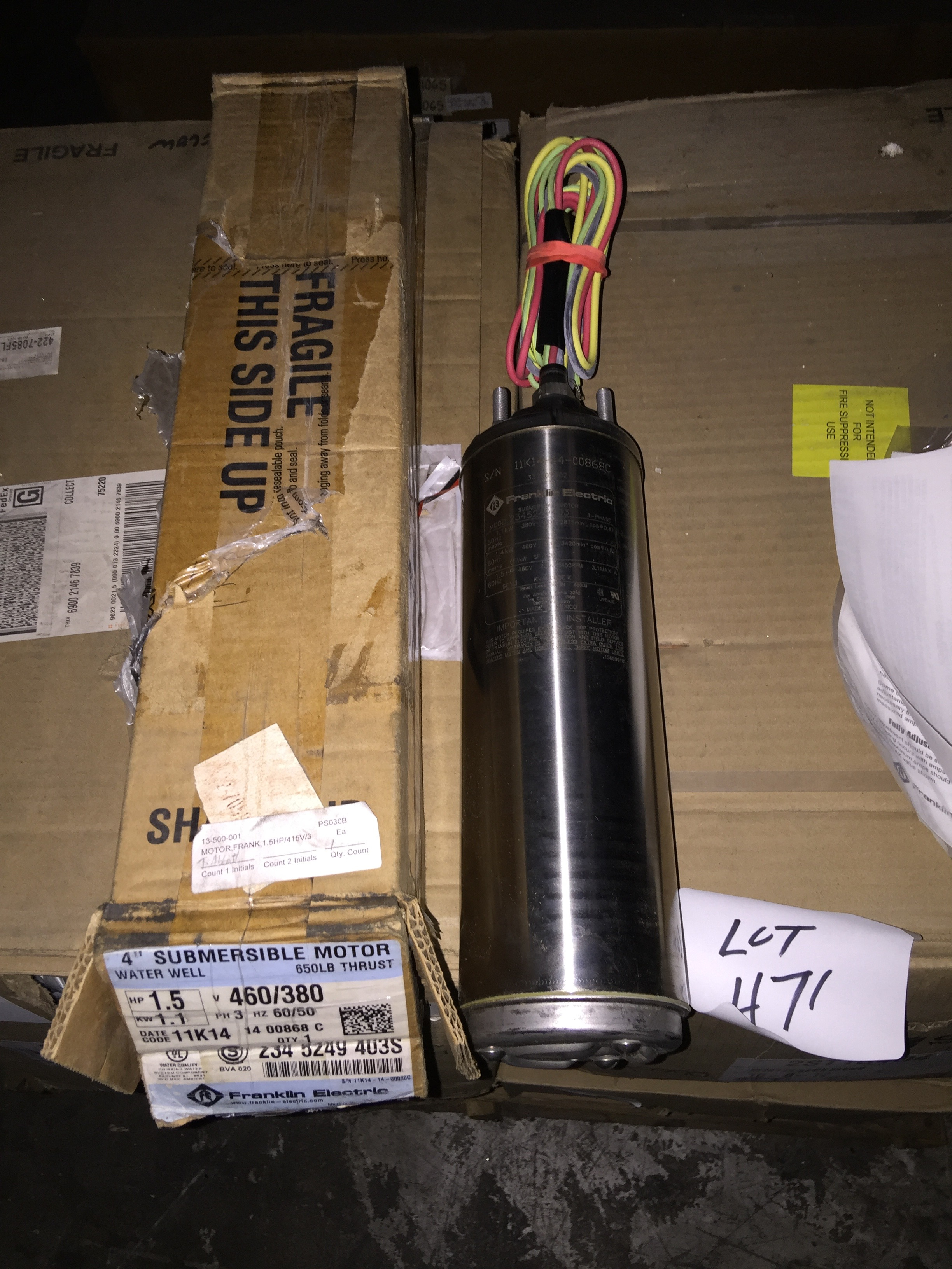 Franklin Electric 4 Submersible Motor 1 5 Hp 460 380
