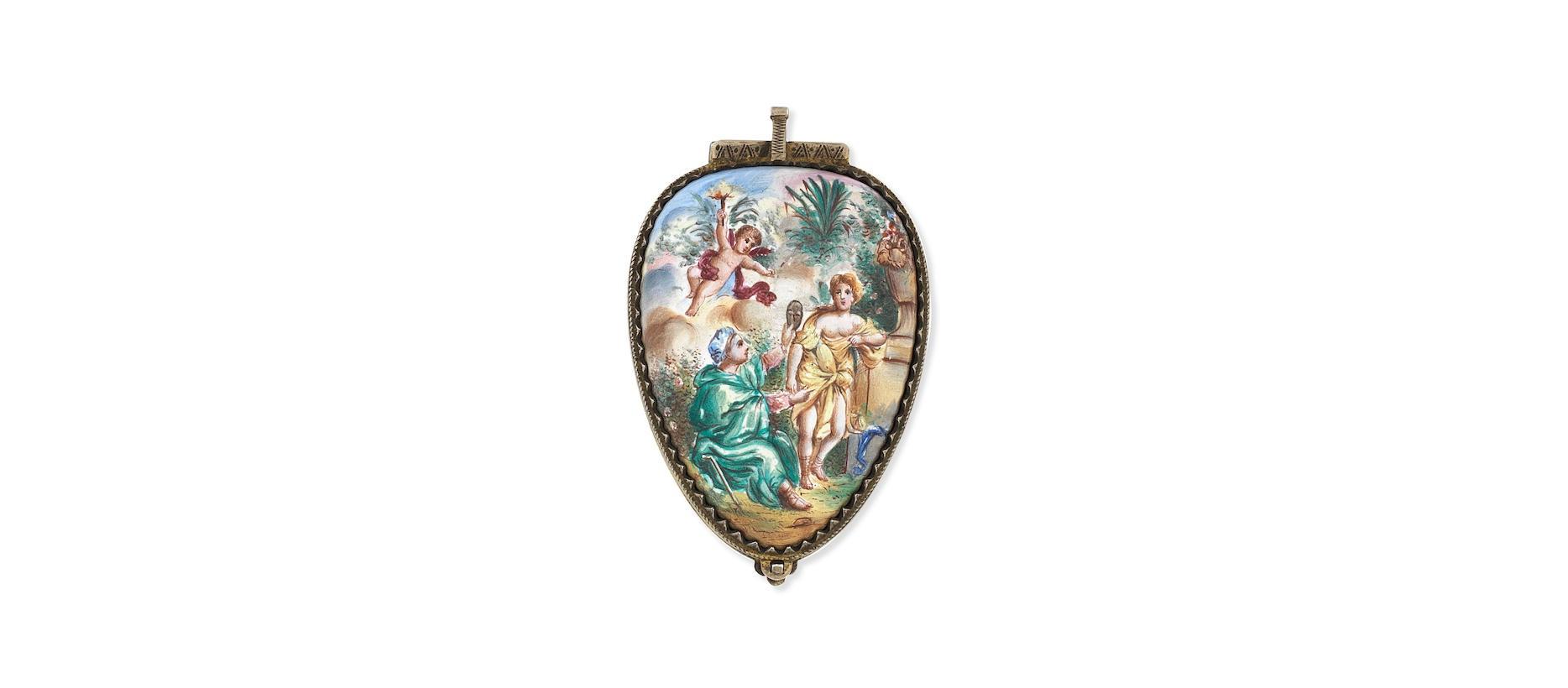 Lot 6 - A gilt metal and polychrome enamel key wind pendant pocket watch