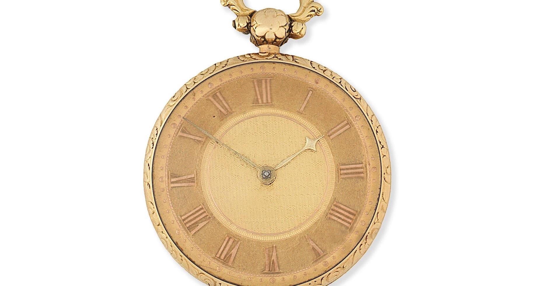 Lot 7 - An 18K gold key wind open face pocket watch