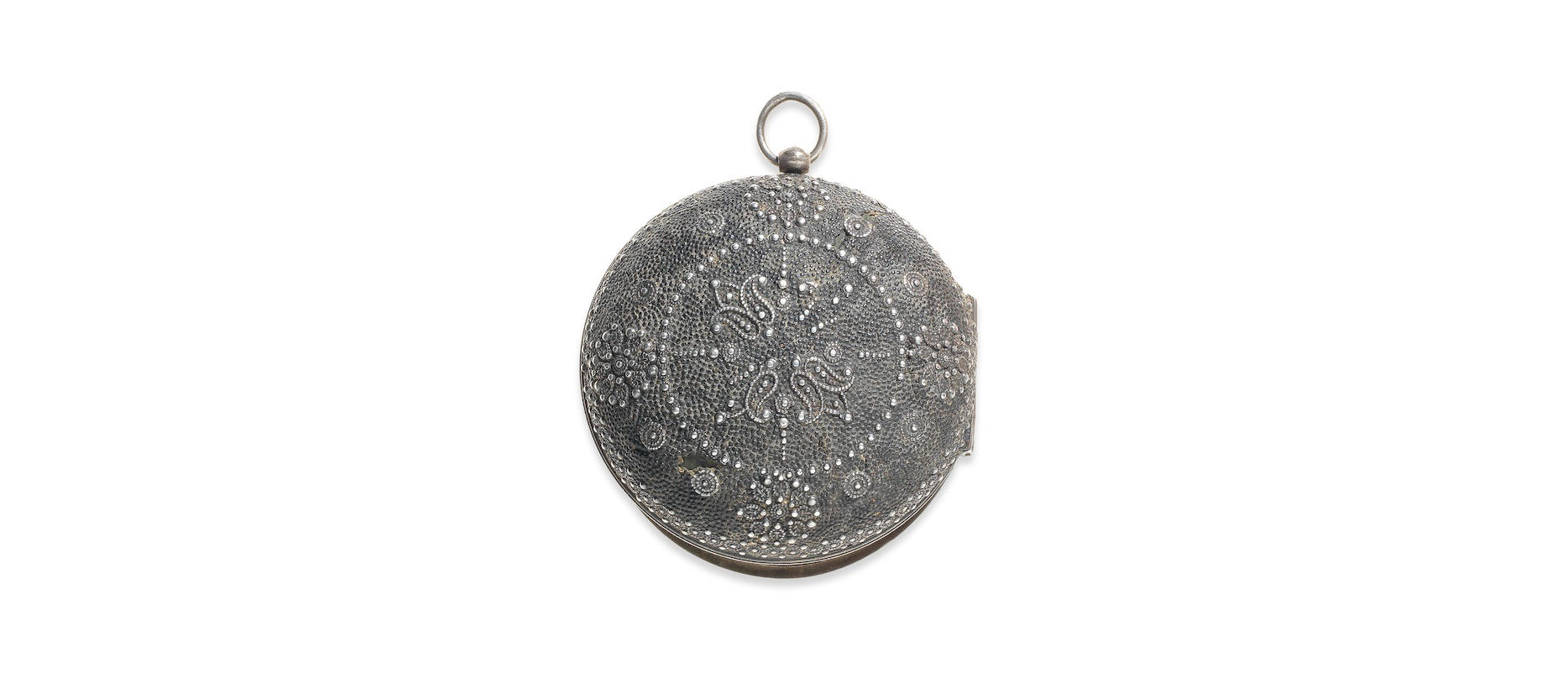 Lot 5 - A silver key wind pair case pocket watch with shagreen case
