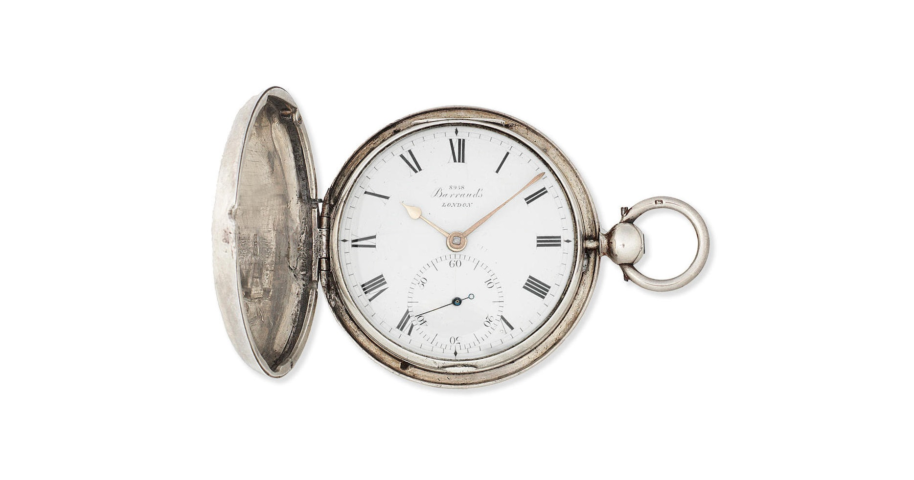 Lot 9 - A silver key wind full hunter pocket watch with duplex escapement