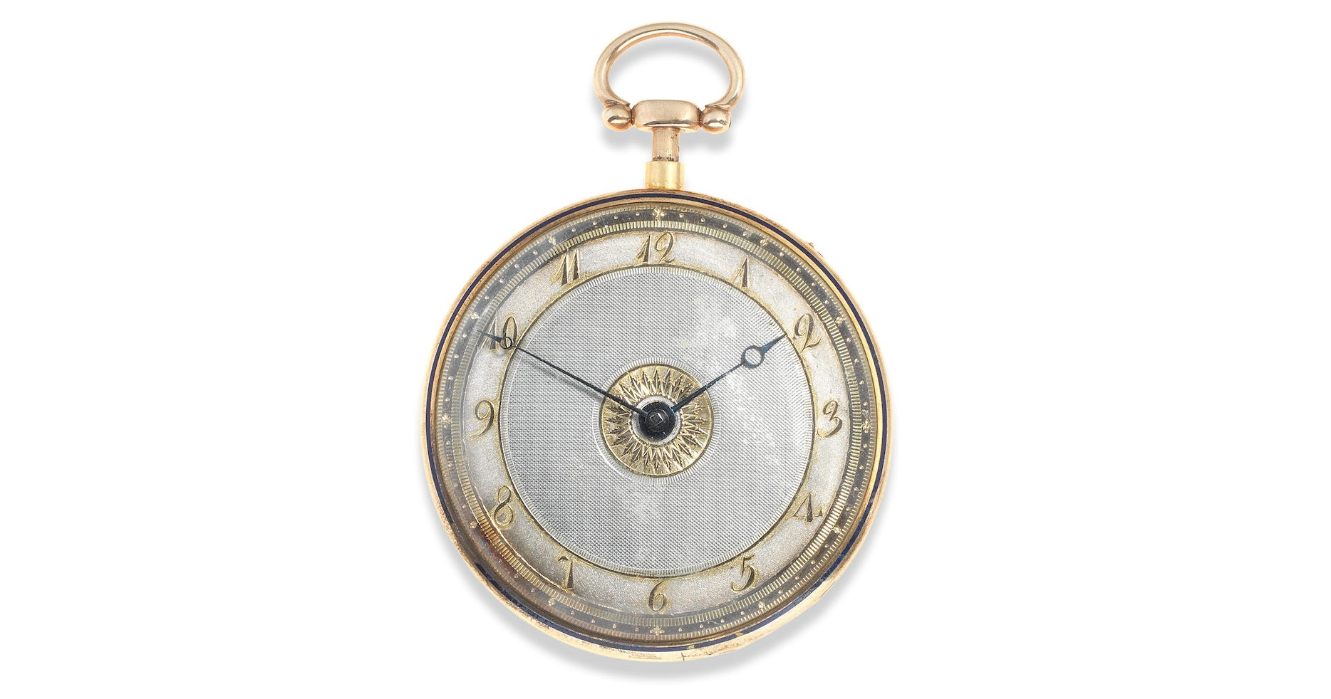 Lot 8 - A continental gold and enamel key wind open face quarter repeating pocket watch