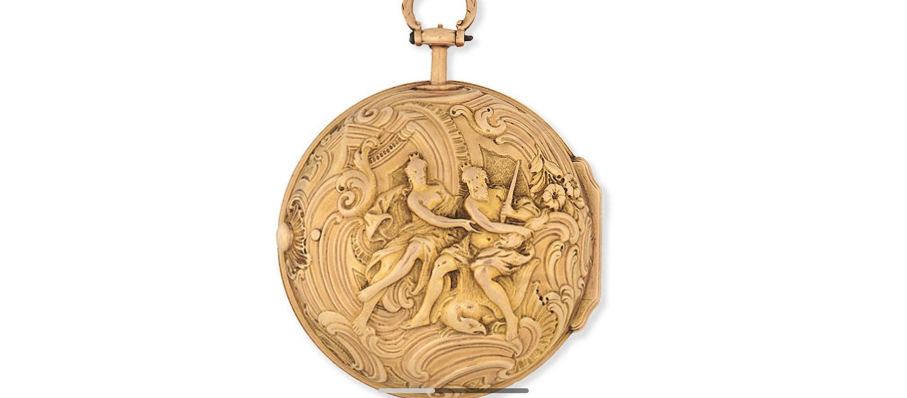 Lot 1 - A gold key wind pair case pocket watch with repoussé decoration
