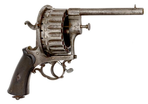 Belgian Twenty-Shot Pinfire Revolver .7mm caliber, 5