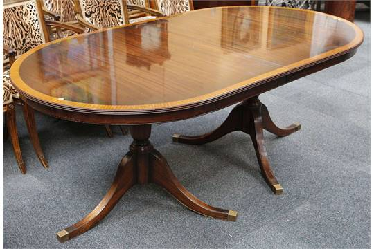 A Reproduction Regency Style Twin Pedestal Mahogany Dining Table With Satinwood Cross Banding 24