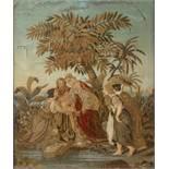 Seidenstickbild Biedermeier1. Drittel 19. Jh., unsigniert, alttestamentarische Szene mit Darstellung