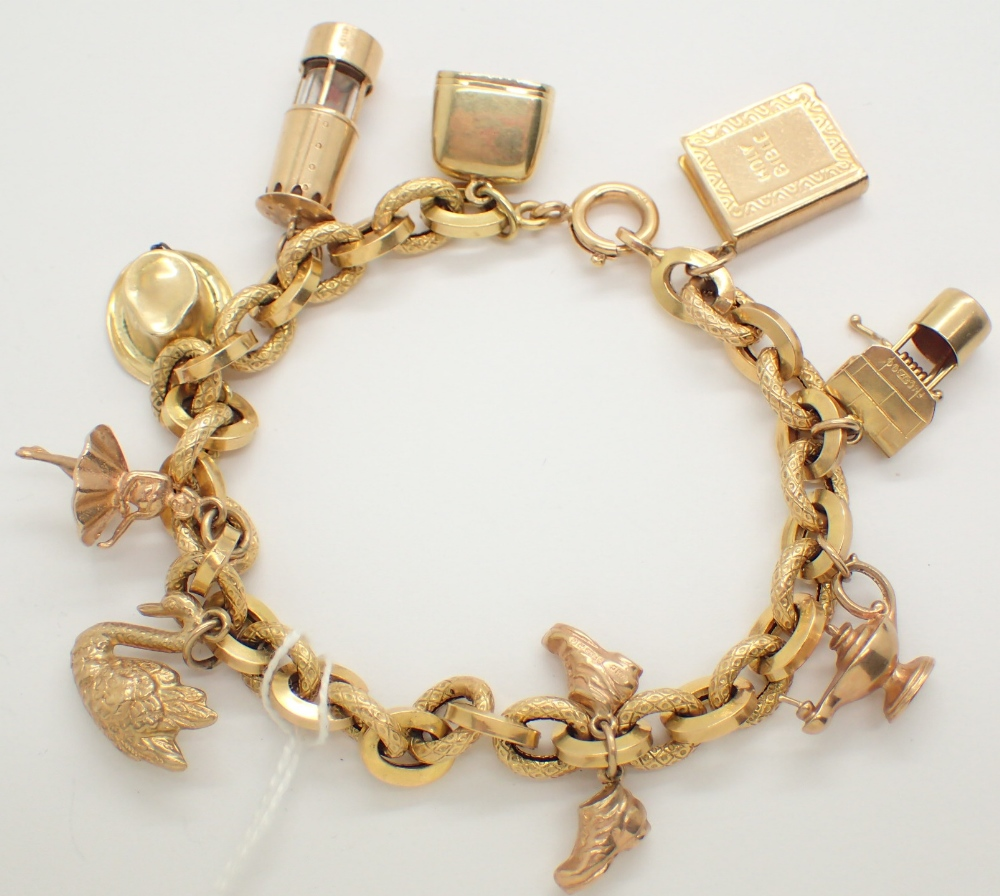 9ct yellow gold charm bracelet with nine charms 22g