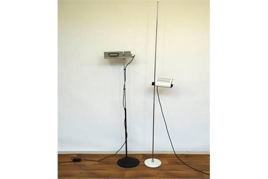 2 design lampen italiaanse grijsgelakte metalen designlamp gemerkt