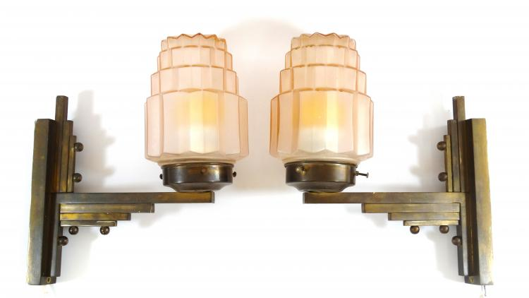 stel art deco lampen stel franse art deco wandlampen met
