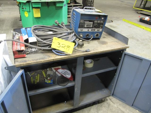 Lot 328 - LOT ERICO BLUE-ARC EC-100 STICK WELDER W/LEADS, ROD &  GREY PORTABLE SUPPLY CABINET