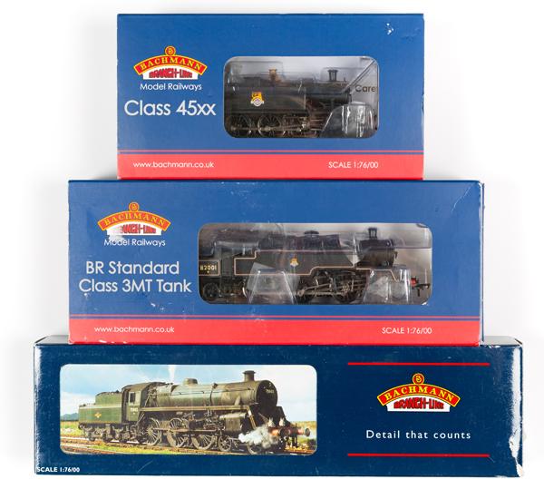 Lot 50 - 3 Bachmann OO gauge locomotives. BR Standard class 3MT 2-6-2T locomotive, 82001 (31-979). In black
