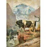HODLER, FERDINANDBern 1853 - 1918 GenèveFreiburger Stier vor Jungfraumassiv.Öl auf Malkarton,mgr.