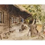"""ANKER, ALBERT1831 Ins 1910Hinter dem Bauernhaus.Aquarell über Bleistift,dat. """"28 Juin"""" (18)84 u.r.,"""