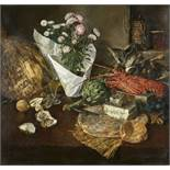 GRISON, FRANÇOIS ADOLPHEBordeaux 1845 - 1914 GenèveTischstillleben mit Austern, Schimmelkäse,