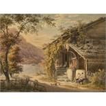 MEYER, JOHANN JAKOBMeilen 1787 - 1858 ZürichHäusliche Idylle vor Berg- und Seelandschaft.Aquarell