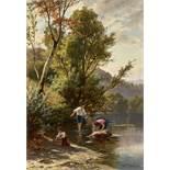ZAHND, JOHANN1854 Schwarzenburg 1934Kindertrio am sommerlichem Fluss.Öl auf Leinwand,sig. u. dat.
