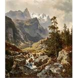 SCKELL, LUDWIGSchloss Berg bei Starnberg 1833 - 1912 PasingWell- und Wetterhorn von der Rosenlaui