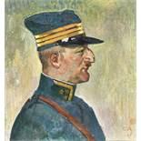 AMIET, CUNOSolothurn 1868 - 1961 OschwandBildnis eines Offiziers.Öl auf Leinwand,mgr. u. dat. (19)27