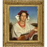 ROBERT, LÉOPOLDBrüssel 1850 - 1935 VenedigUmkreisPorträt einer Süditalienerin in Tracht.Öl auf