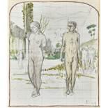 SCHMIDT, ALBERT1883 Genève 1970Homme et femme.Aquarell und Bleistift,mgr. u. dat. 1903(?) u.r.,34,