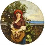 FERAGUTTI VISCONTI, ADOLFOPura 1850 - 1924 MailandBäuerin mit Gefäss am Strand.Öl auf Malkarton,sig.