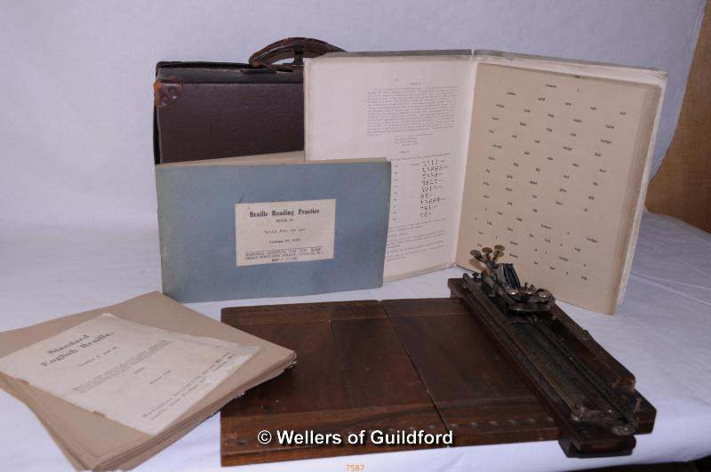 Lot 7587 - *Stainsby-Wayne early mahogany braille typewriter, with manuals (Lot subject to VAT)