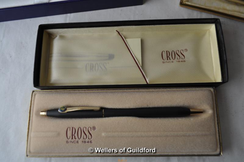 Lot 7610 - A Shaeffer propelling pencil and fountain pen, cased; Waterman ballpoint pen, boxed; Cross ballpoint