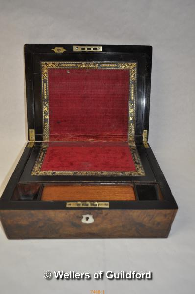 Lot 7468 - *Victorian writing slope with mother-of-pearl cartouche and escutcheon (Lot subject to VAT)