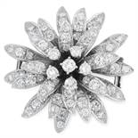 DIAMOND FLOWER BROOCH set with round cut diamonds totalling approximately 4.50-5.20 carats, 3.2cm,