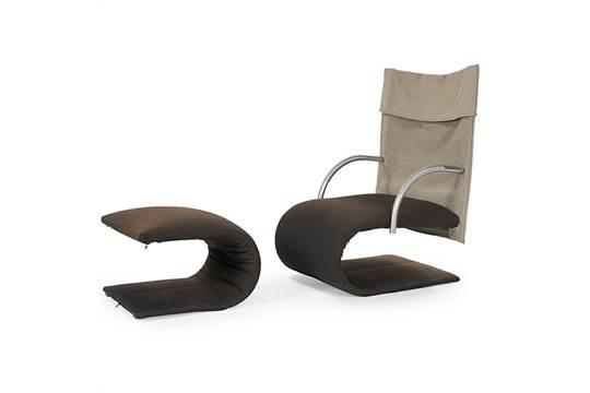 Claude Brisson (b. 1947) for Ligne Roset, Zen chair and ottoman ...