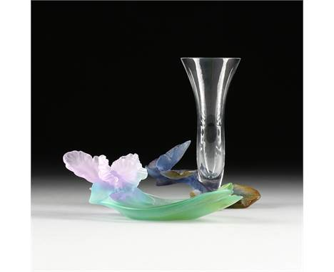 """A DAUM PÃ'TE DE VERRE CRYSTAL """"BUTTERFLY"""" BUD VASE AND """"ORCHID"""" DISH, SIGNED, LATE 20TH CENTURY, the Butterfly bud vase (Papi"""