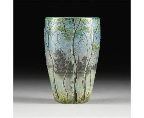 A DAUM NANCY ACID ETCHED AND ENAMELED GLASS LAKESHORE VASE, SIGNED, EARLY 20TH CENTURY, with finely enameled sides depicting
