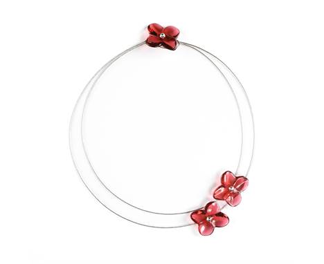 """A BACCARAT STERLING SILVER AND RED CRYSTAL FLOWER NECKLACE, BOXED, MODERN, three red crystal flower blooms each engraved, """"Ba"""
