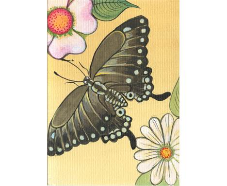 """Christina Burch Butterfly Dreams, 2021 Acrylic on Paper Signed verso 15 x 10cm (5¾ x 3¾ in.)  """"Christina Bur"""