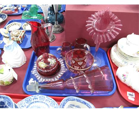 Cranberry Glass; Jack in the pulpit vase, frilled epergne flute, sugar bowl and cream jug, jugs, a Whitefriars ruby glass jug