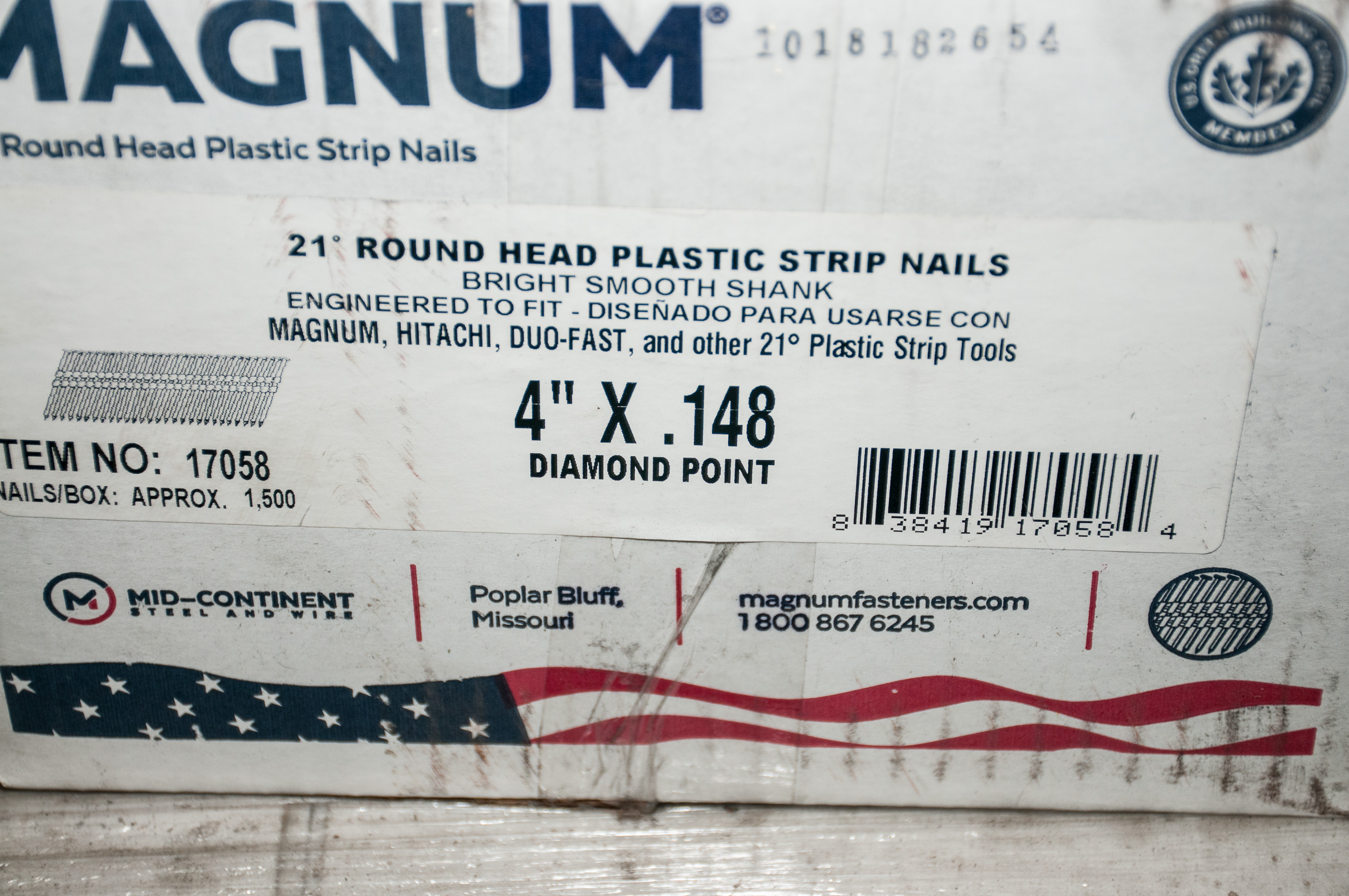 "Pallet of 4"" Strip Nails and Bostitch 4"" Pneumatic Nailer - Image 2 of 3"