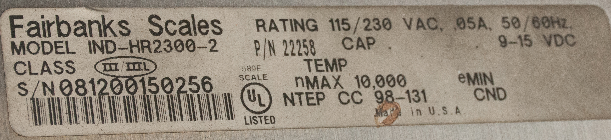 """Scale Table 82 1/2"""" X 107 1/2"""" w/ Fairbanks Readout and Epson Printer, 10,000 lb. Cap. - Image 3 of 5"""