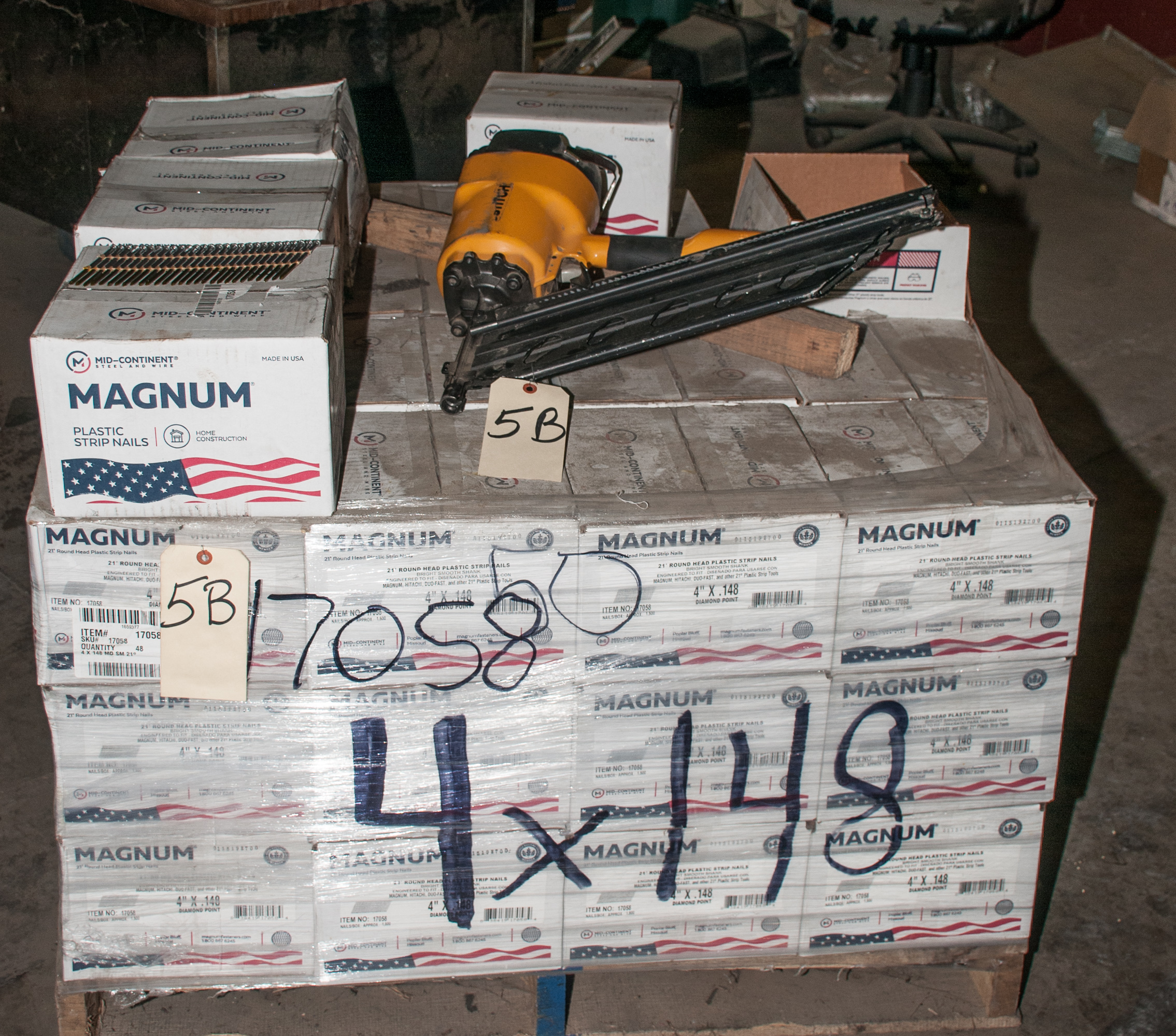 "Pallet of 4"" Strip Nails and Bostitch 4"" Pneumatic Nailer"