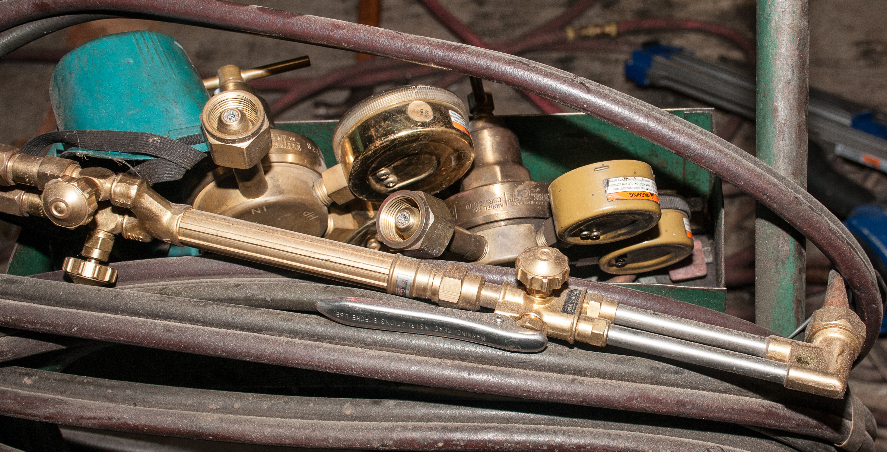 Welding Gas Cart w/ Torch, Hoses and Several Regulators - Image 2 of 2