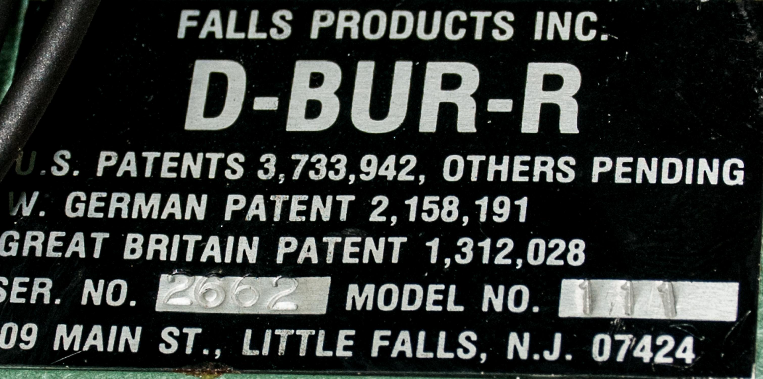 Falls Products D-BUR-R Mdl 111, s/n 2662, 110v Deburring Machine. - Image 2 of 2