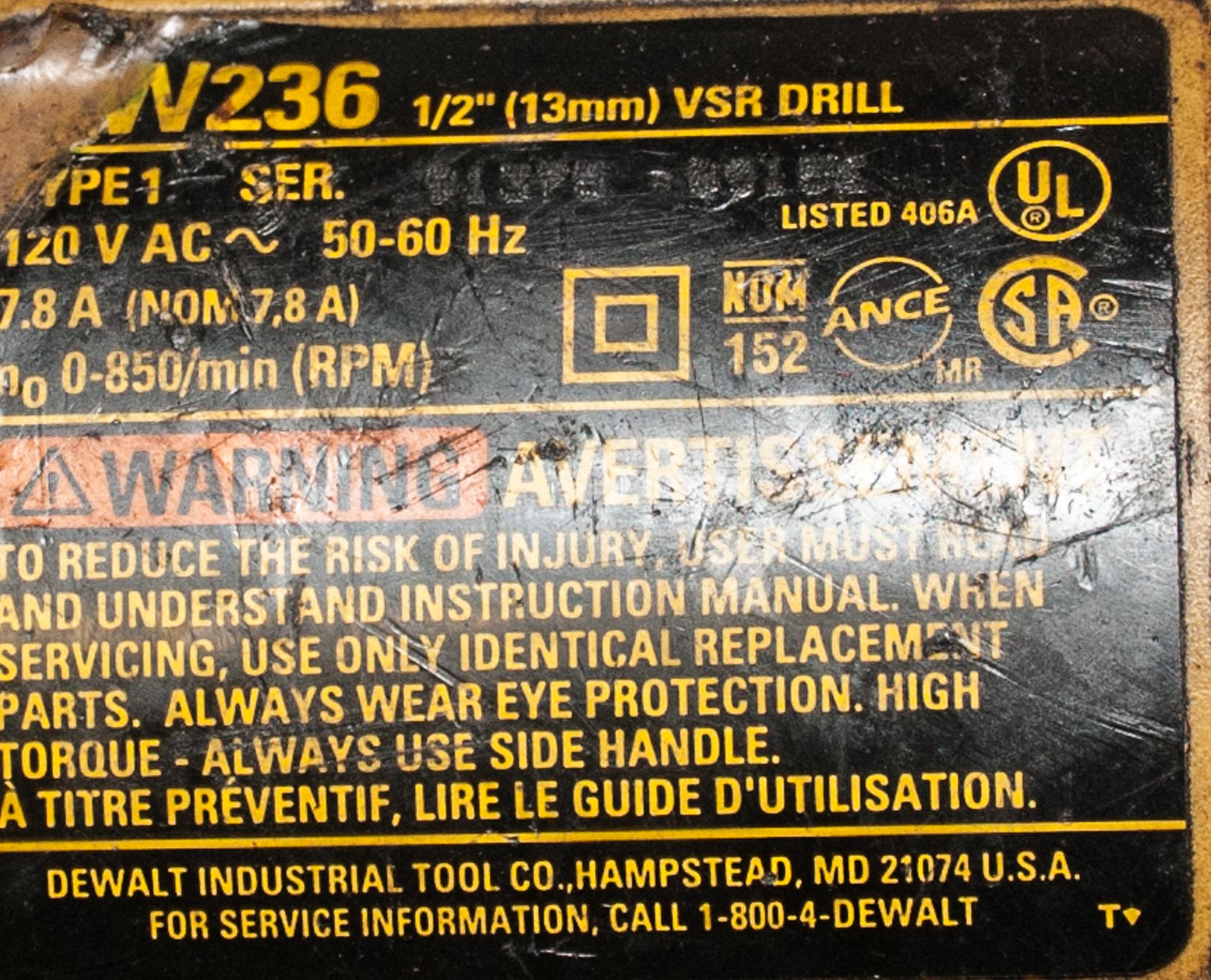 """DeWalt Mdl. W236 1/2"""" Electric VSR Drill & 7"""" DeWalt Angle Grinder - Image 2 of 2"""