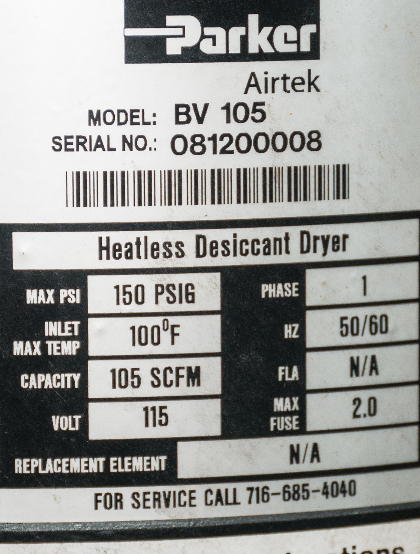 AirTEK Air Dryer Mdl. BV105, s/n 081200008, Heatless Dessicant Dryer, Cap 105 SCFM, 115v - Image 2 of 2