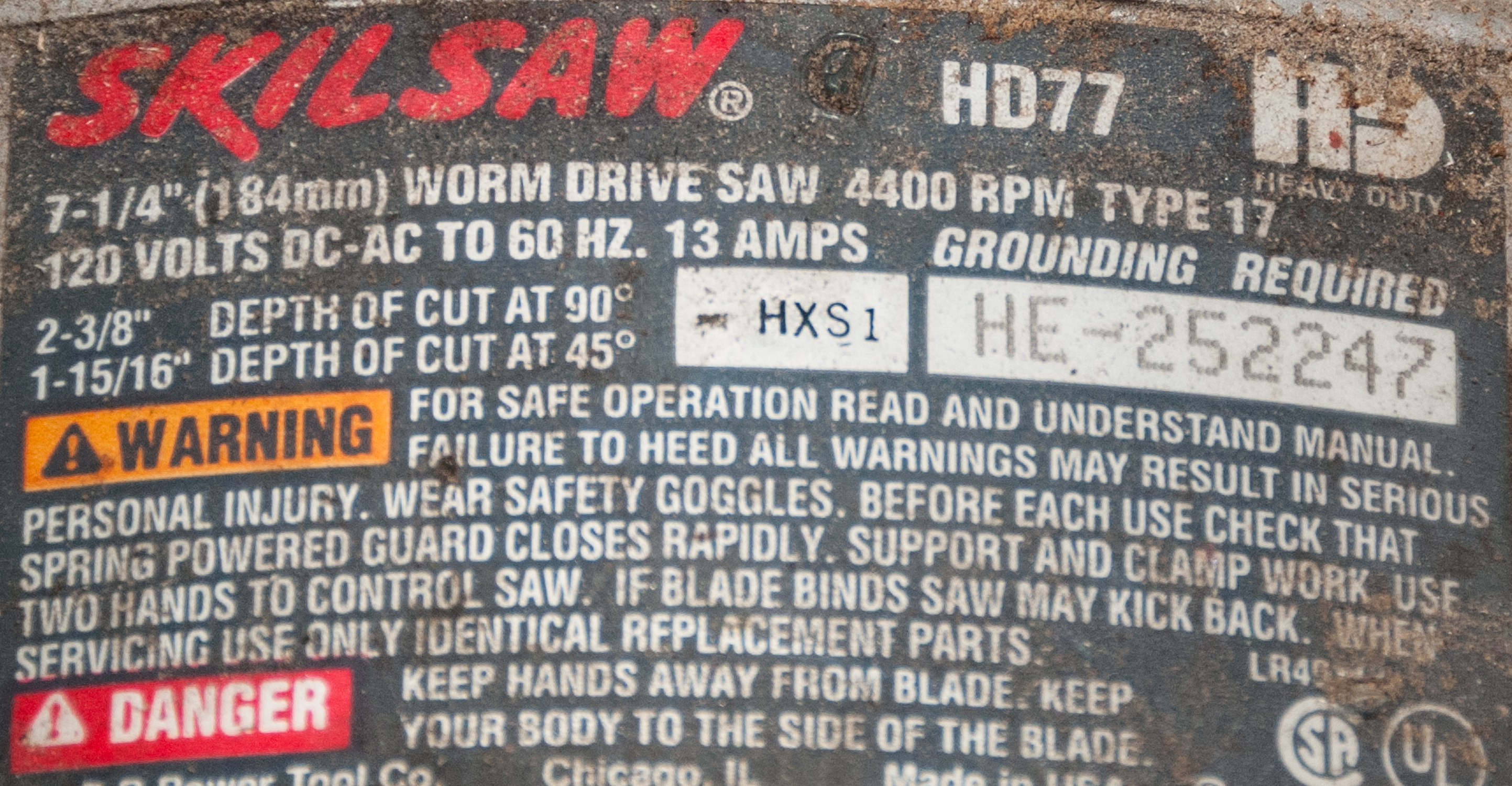 Skillsaw HD 77 Worm Drive Saw HXS1, HE-252247 - Image 2 of 3