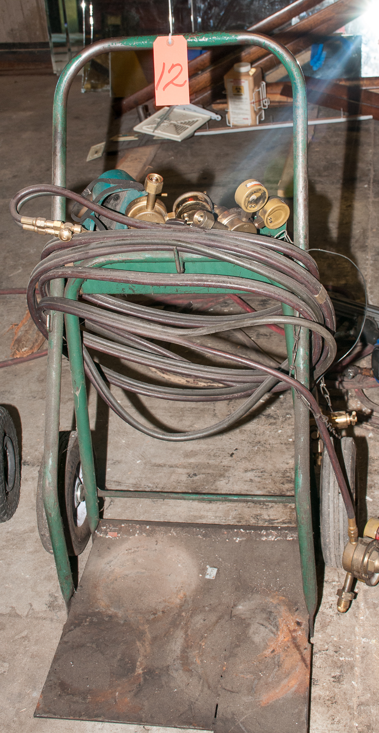 Welding Gas Cart w/ Torch, Hoses and Several Regulators