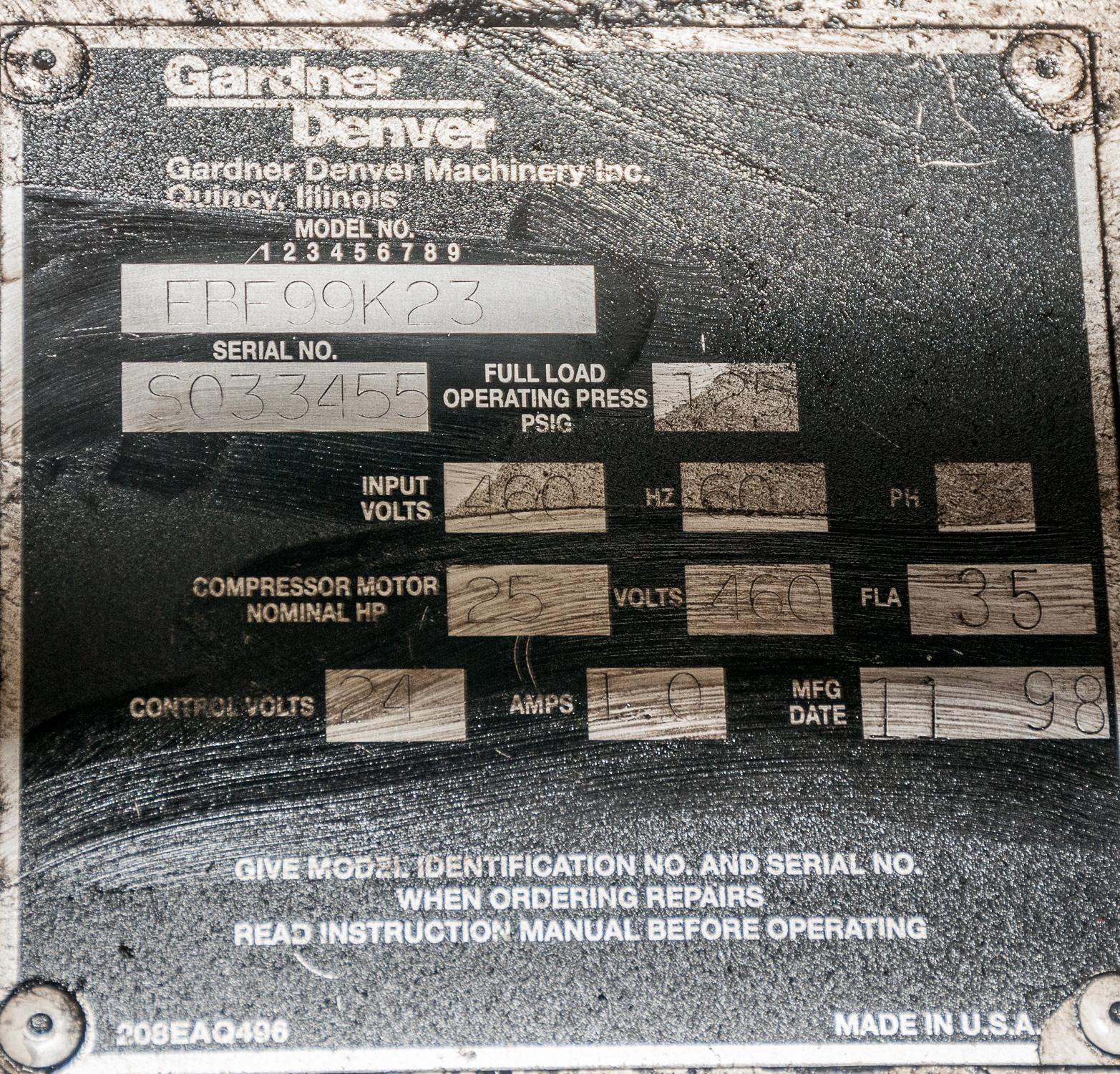 Gardner Denver Electra Screw Air Compressor Mdl. EBE99K23, s/n S033455, 460v, 120 Gal Horizontal - Image 4 of 4