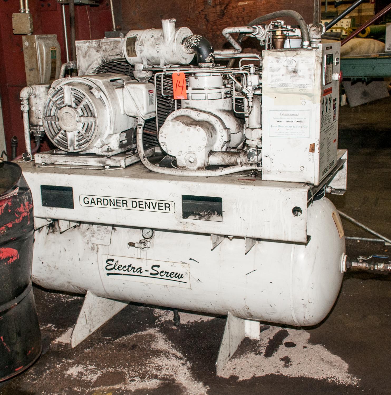 Gardner Denver Electra Screw Air Compressor Mdl. EBE99K23, s/n S033455, 460v, 120 Gal Horizontal