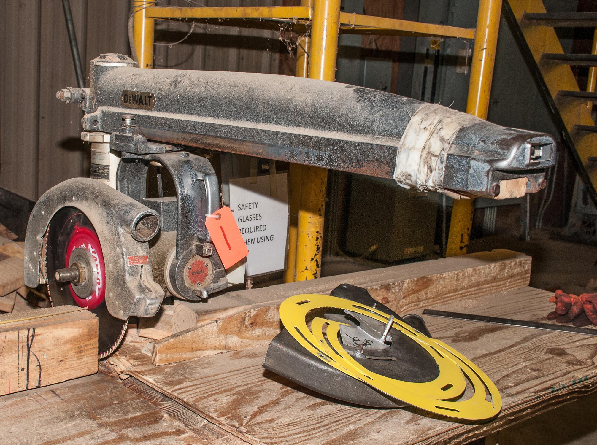 "DeWalt Radial Arm Saw s/n 439264, w/ stand and 194"" Wood bench"