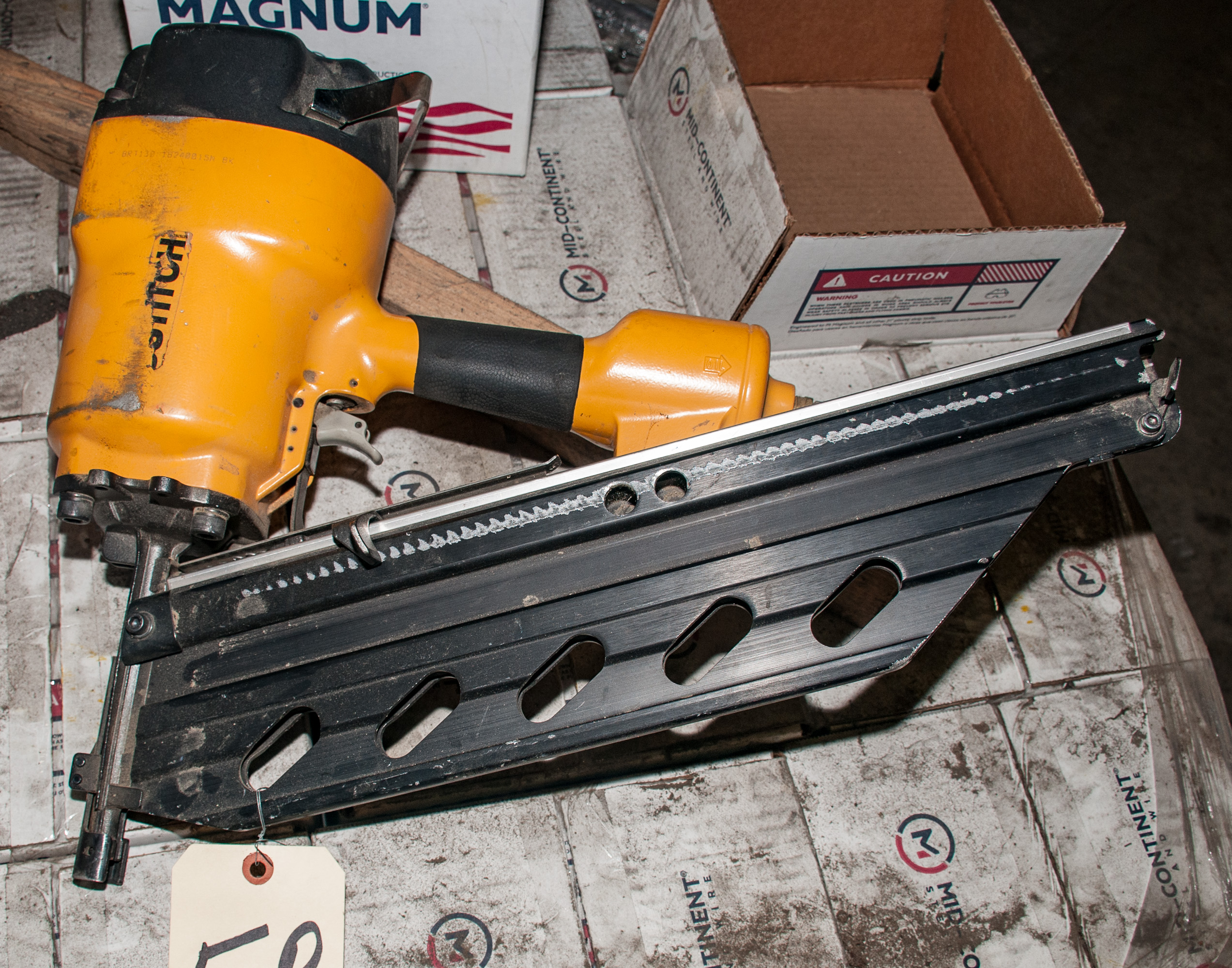 "Pallet of 4"" Strip Nails and Bostitch 4"" Pneumatic Nailer - Image 3 of 3"