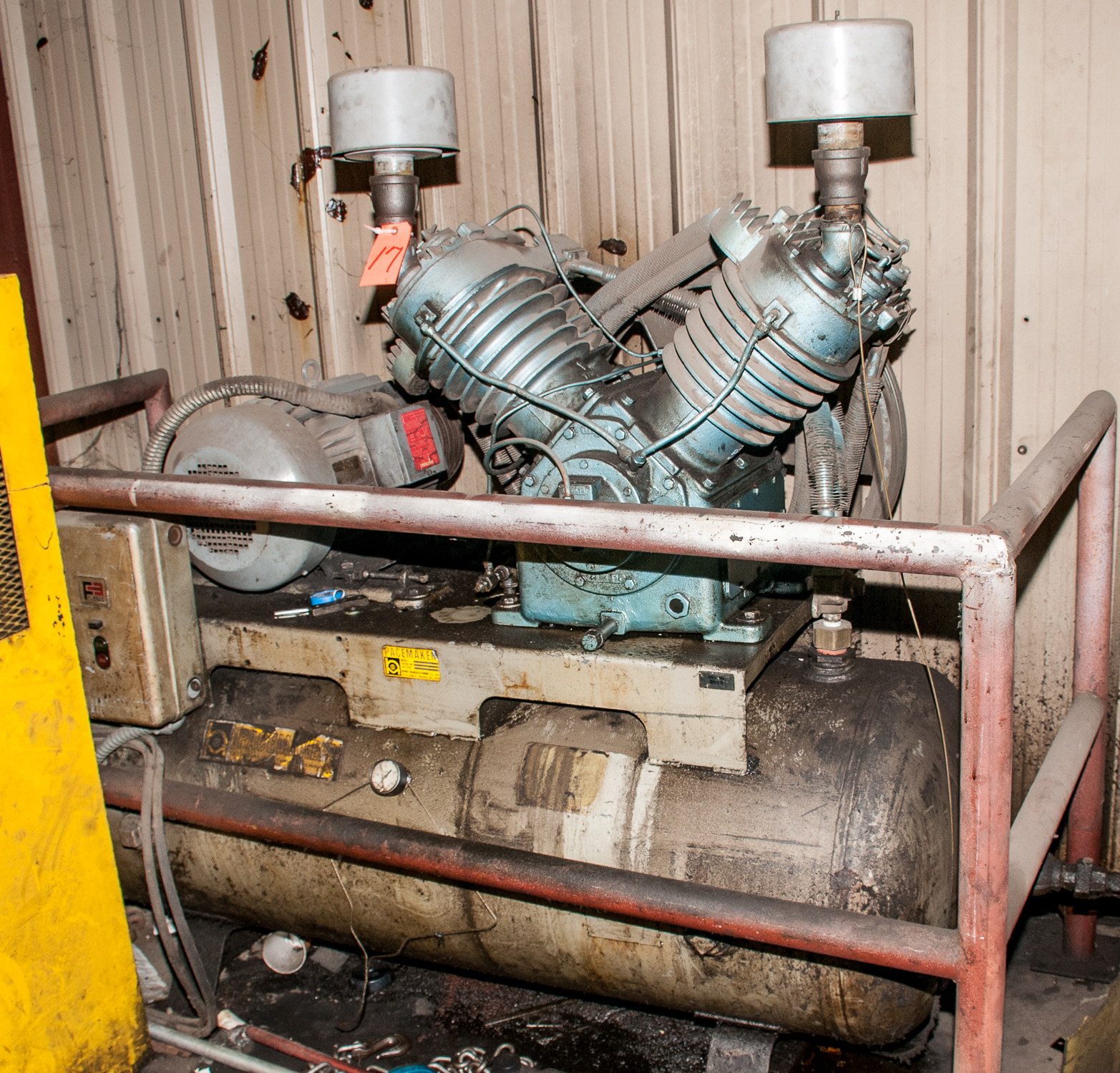 Pacemaker Air Compressor Mdl HT62B, s/n 3815, 220v, 20 hp, Estimate 80 Gal. Horizontal Tank, w/