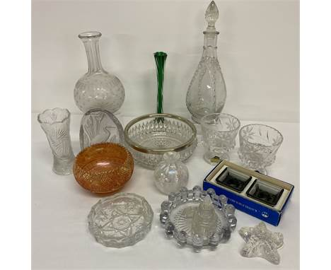 A box of assorted vintage glass items to include boxed pair of Holmegaard candle holders.  Lot also includes a pair of West G